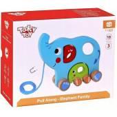 Drewniana rodzina słoni do ciągnięcia Toky Toy