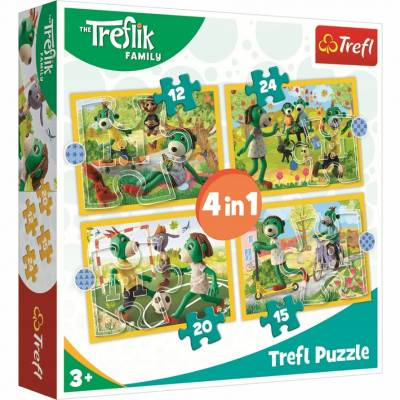 TREFL PUZZLE 4w1 . 71 el. Wspólne zabawy Treflików 34358