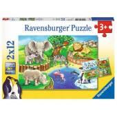 RAVENSBURGER Puzzle Zwierzęta w ZOO 2 x 12 elem.
