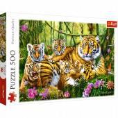 Trefl Puzzle 500 el. Rodzina tygrysów 37350