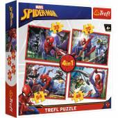 Trefl Puzzle 4in1 , 207 el. W sieci Spider-Mana 34293