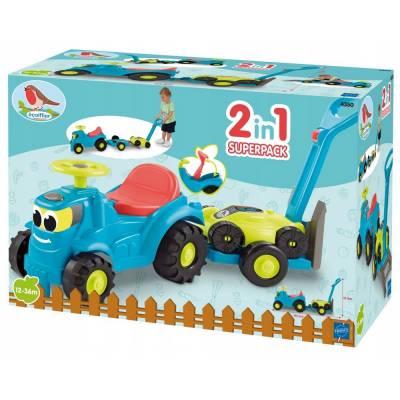 Ecoiffier Jeździk traktor z przyczepką i kosiarką 7600004350